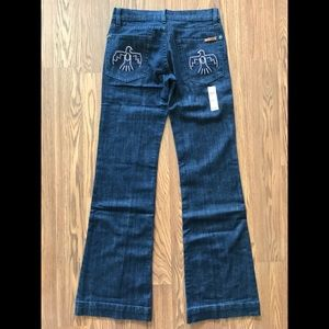 Thunderbird Brand Blue Jeans with clear crystals